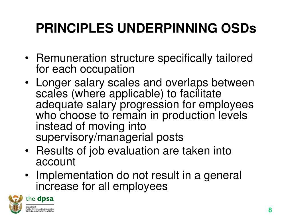 PRINCIPLES UNDERPINNING OSDs