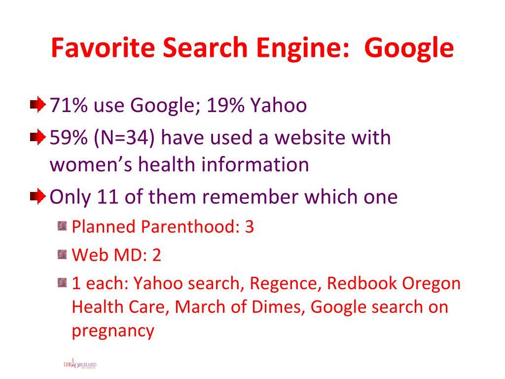 Favorite Search Engine:  Google