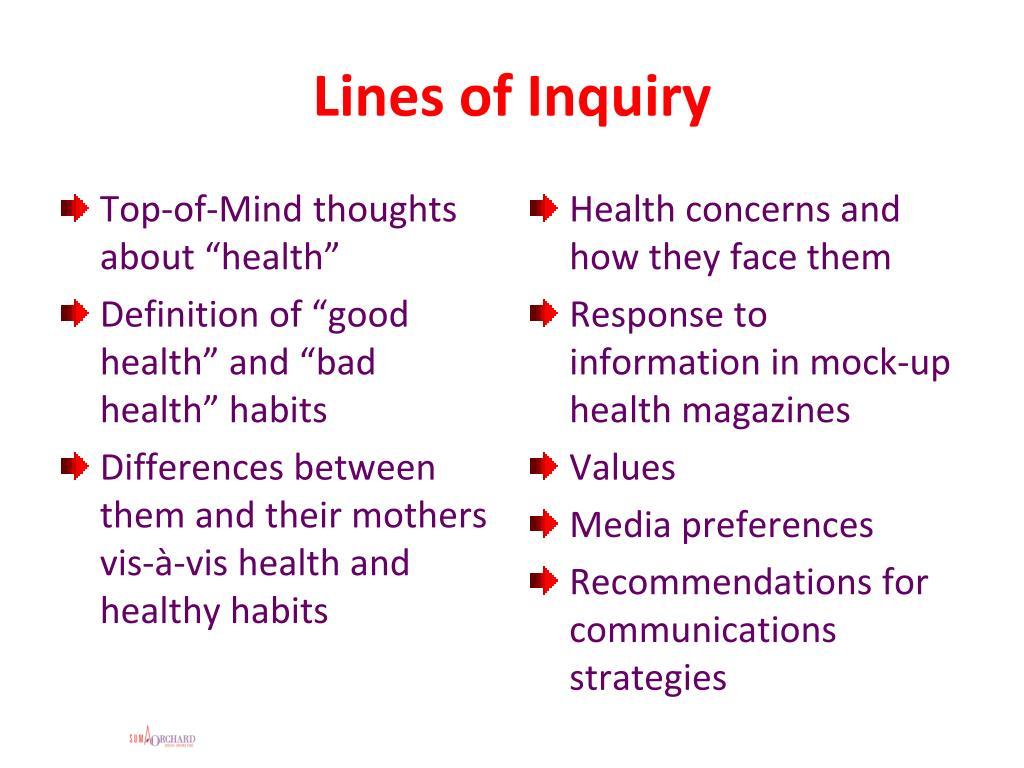 Lines of Inquiry