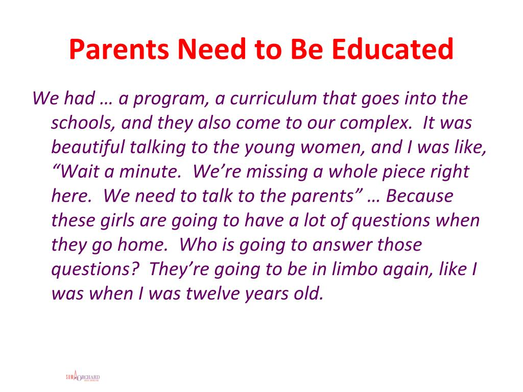 Parents Need to Be Educated