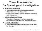 three frameworks for sociological investigation
