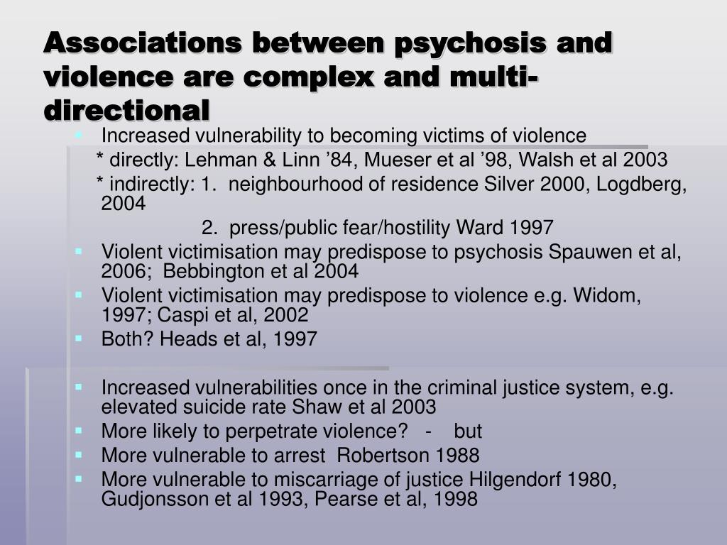 Associations between psychosis and violence are complex and multi-directional