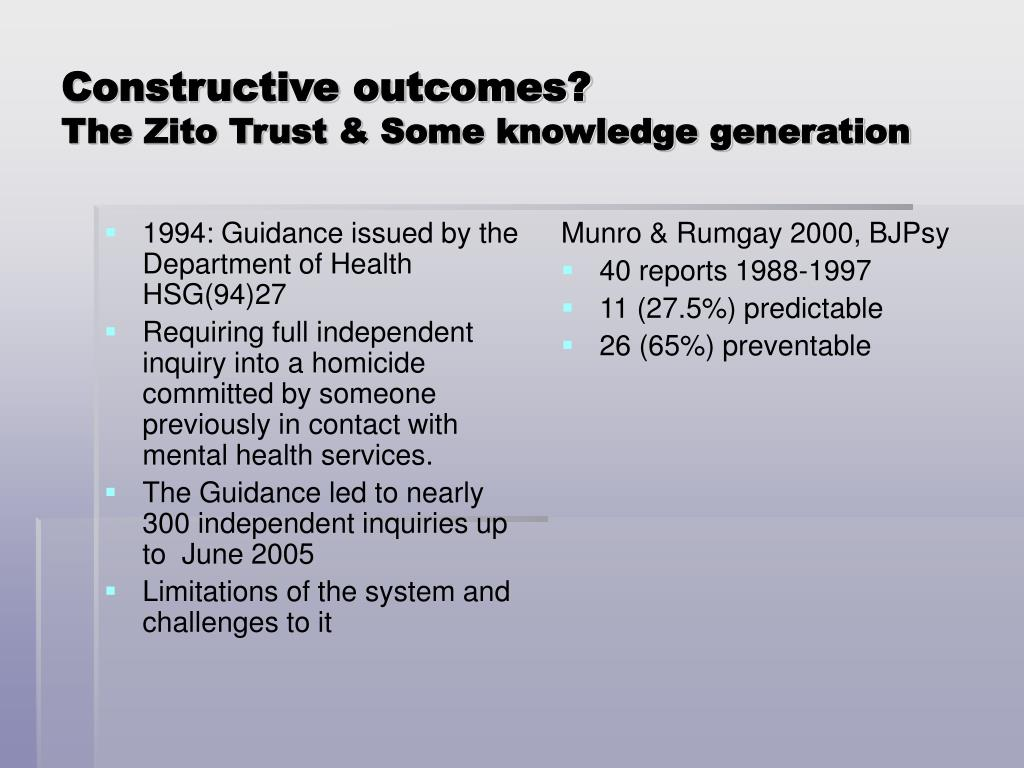 1994: Guidance issued by the Department of Health HSG(94)27