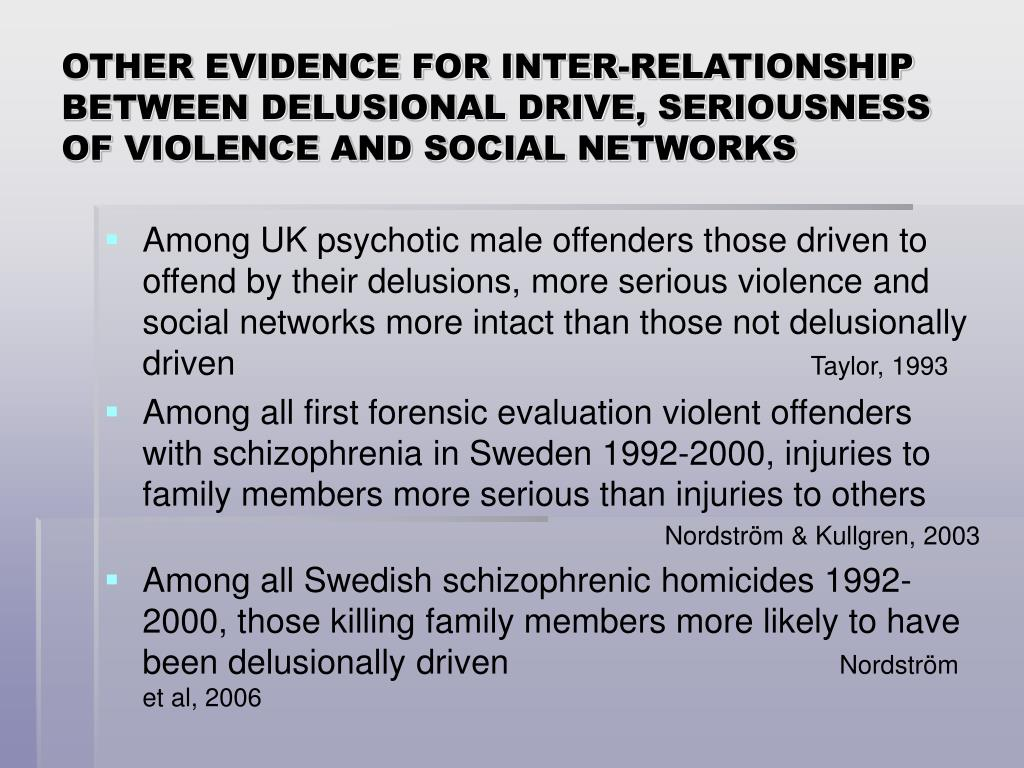 OTHER EVIDENCE FOR INTER-RELATIONSHIP BETWEEN DELUSIONAL DRIVE, SERIOUSNESS OF VIOLENCE AND SOCIAL NETWORKS