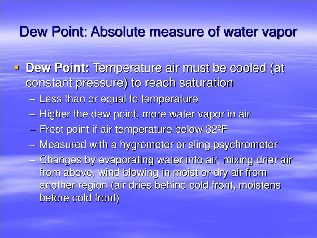 Dew Point: Absolute measure of water vapor