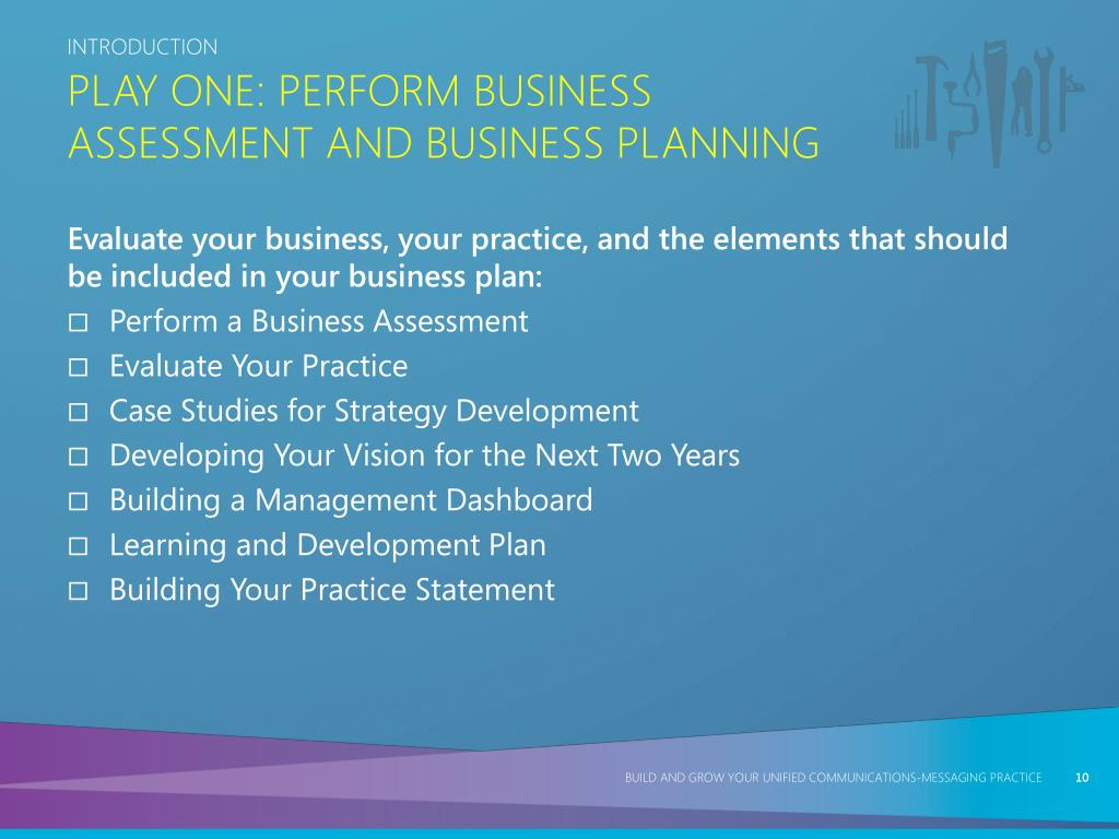 Play One: Perform Business Assessment and Business Planning