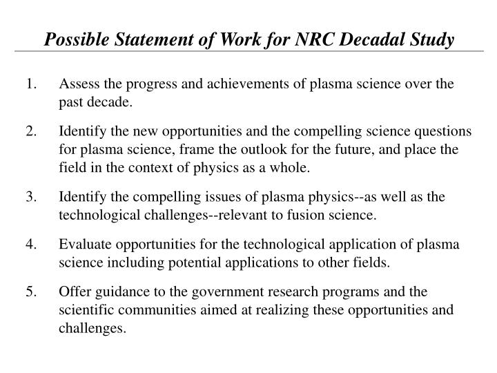 Possible Statement of Work for NRC Decadal Study