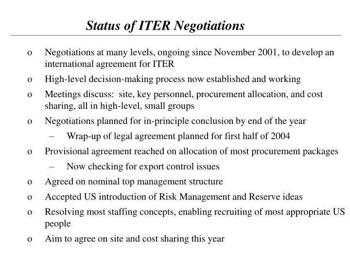 Status of ITER Negotiations