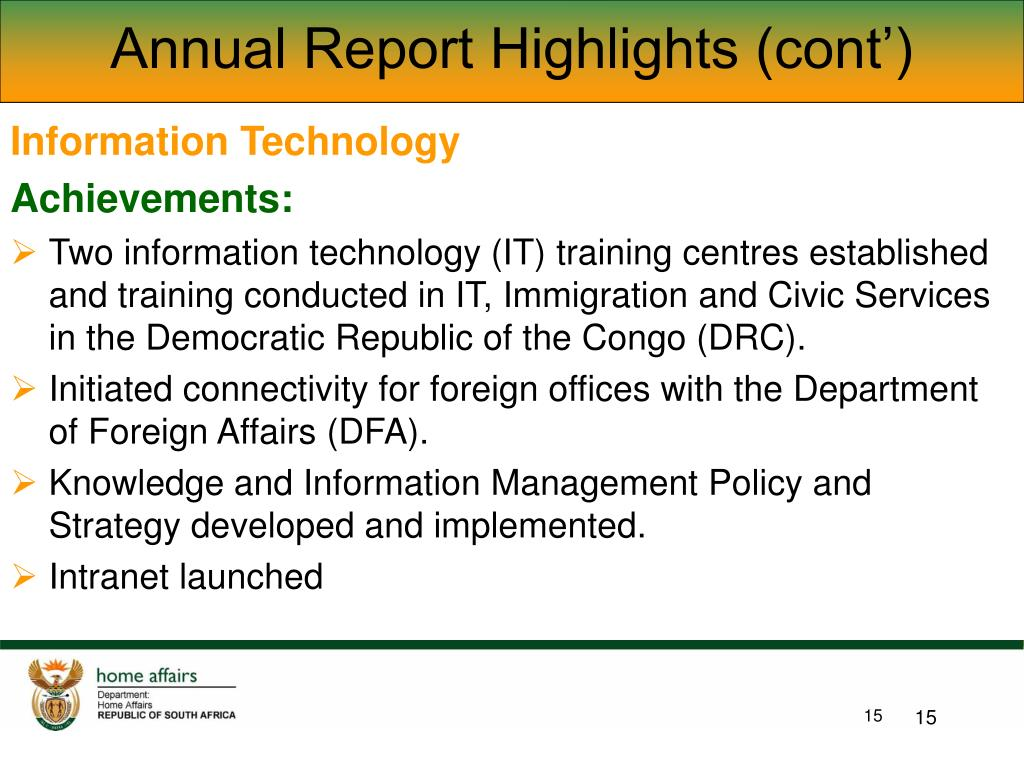 Annual Report Highlights (cont')