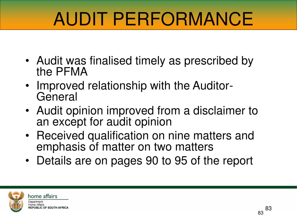 AUDIT PERFORMANCE
