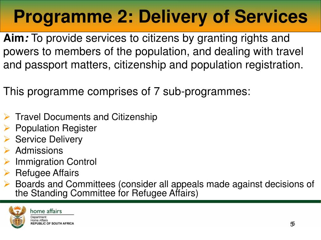 Programme 2: Delivery of Services