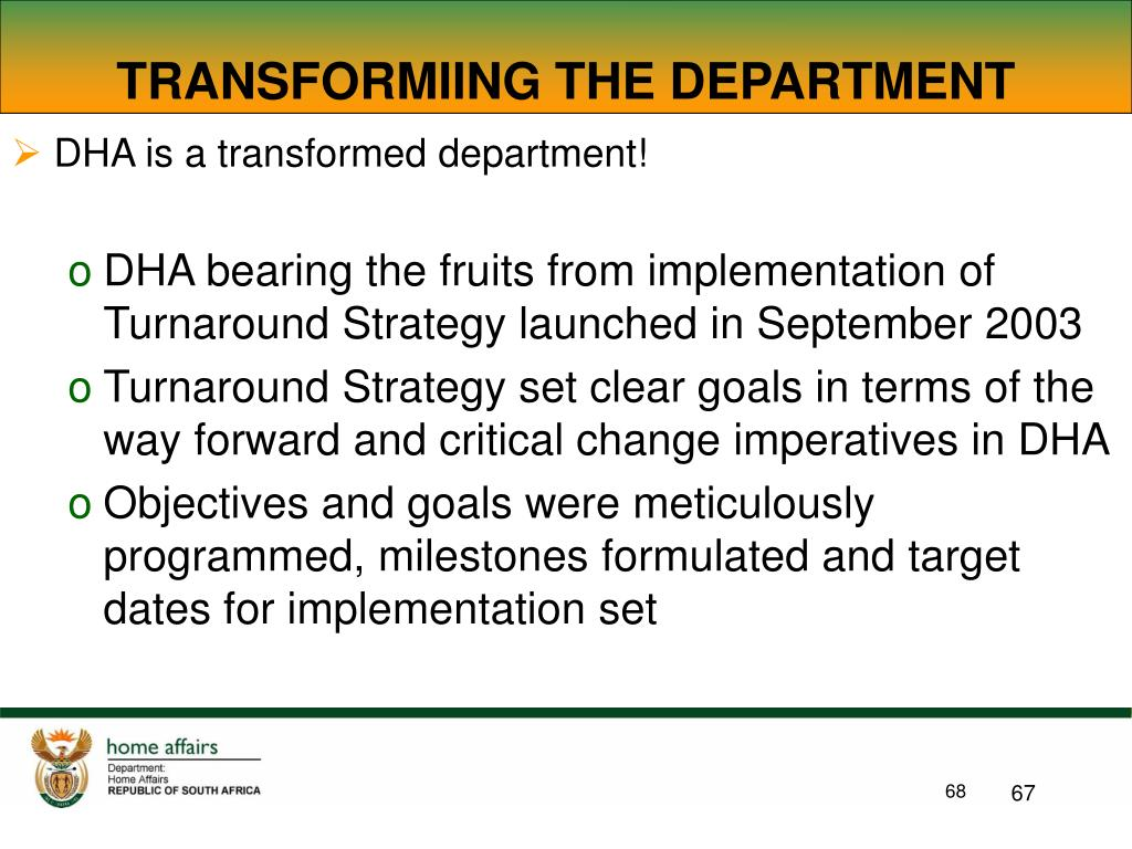 TRANSFORMIING THE DEPARTMENT