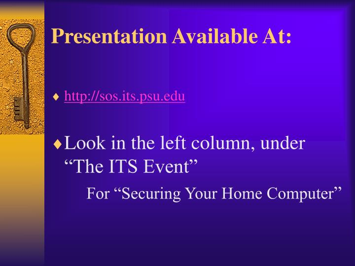 Presentation available at