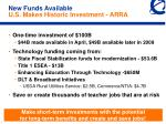 new funds available u s makes historic investment arra