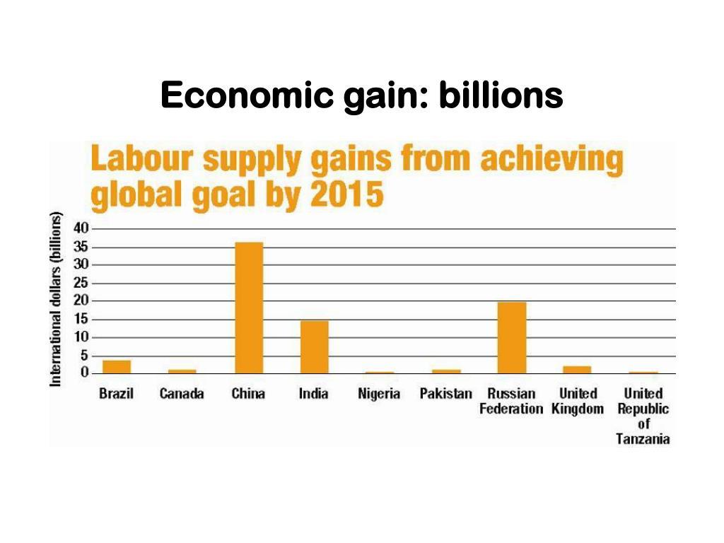 Economic gain: billions