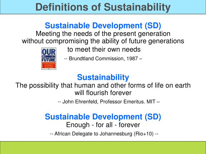 Definitions of Sustainability