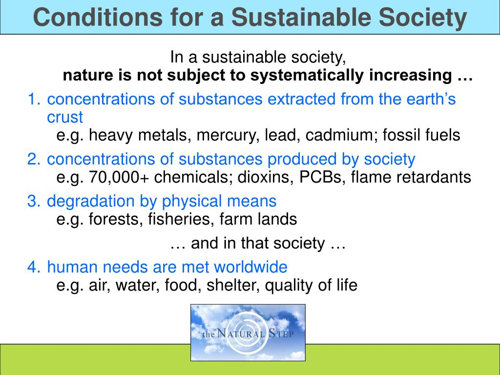Conditions for a Sustainable Society