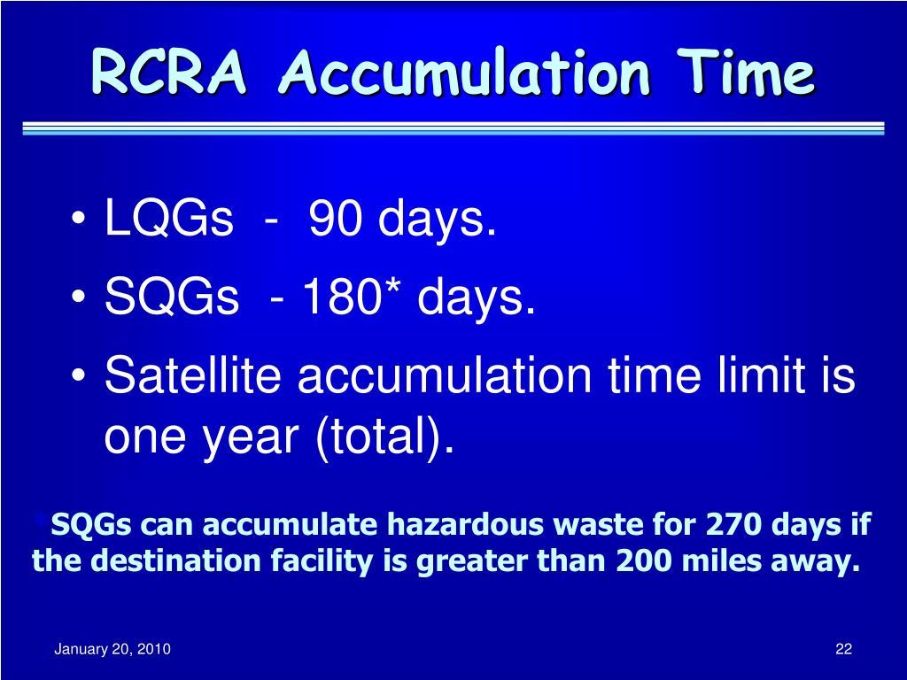 RCRA Accumulation Time