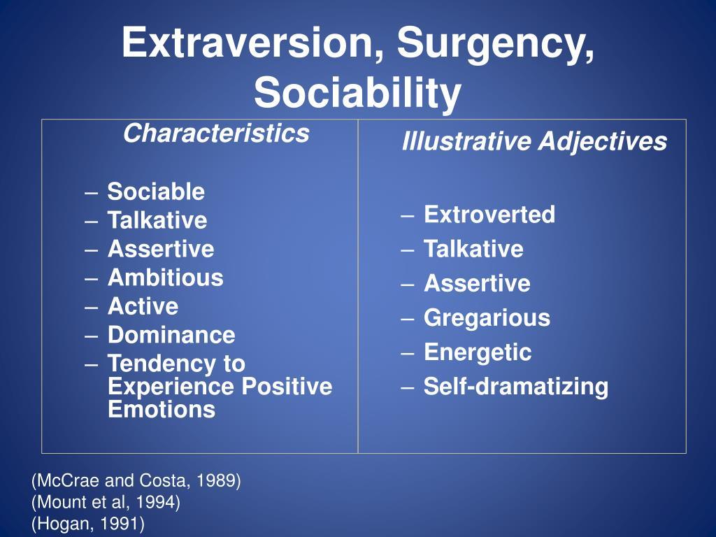 Extraversion, Surgency, Sociability