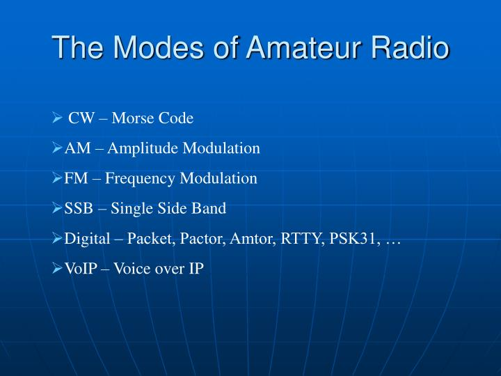 The modes of amateur radio