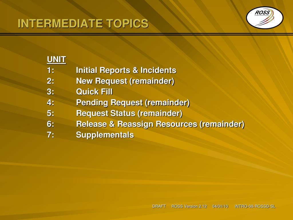 INTERMEDIATE TOPICS