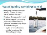 water quality sampling cont d