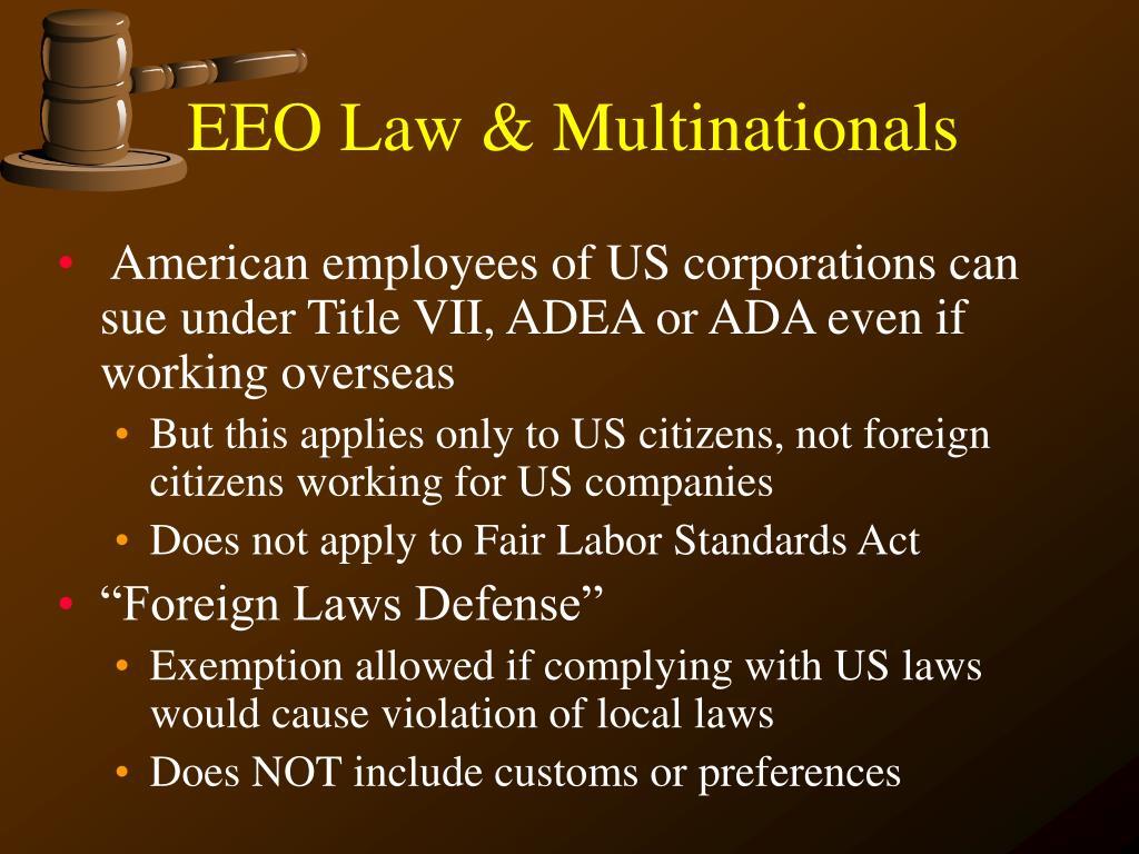 EEO Law & Multinationals