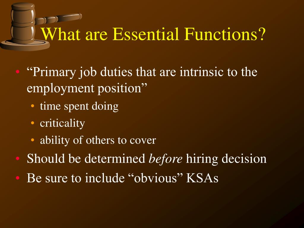 What are Essential Functions?