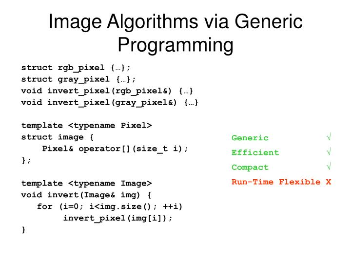 Image Algorithms via Generic Programming