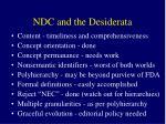 ndc and the desiderata