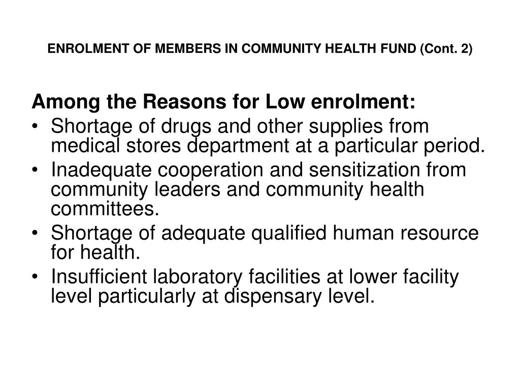 ENROLMENT OF MEMBERS IN COMMUNITY HEALTH FUND (Cont. 2)