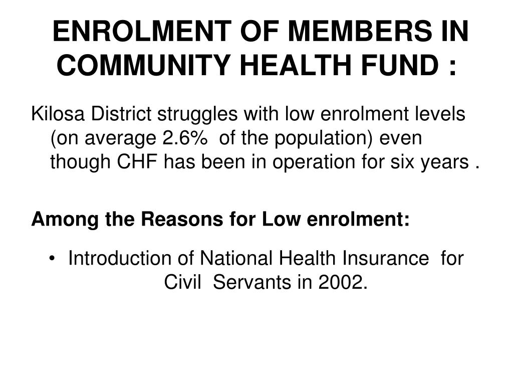 ENROLMENT OF MEMBERS IN COMMUNITY HEALTH FUND :