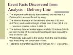 event facts discovered from analysis delivery line