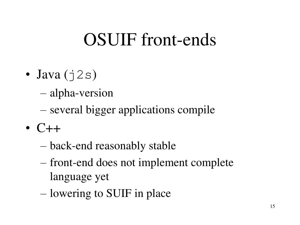 OSUIF front-ends