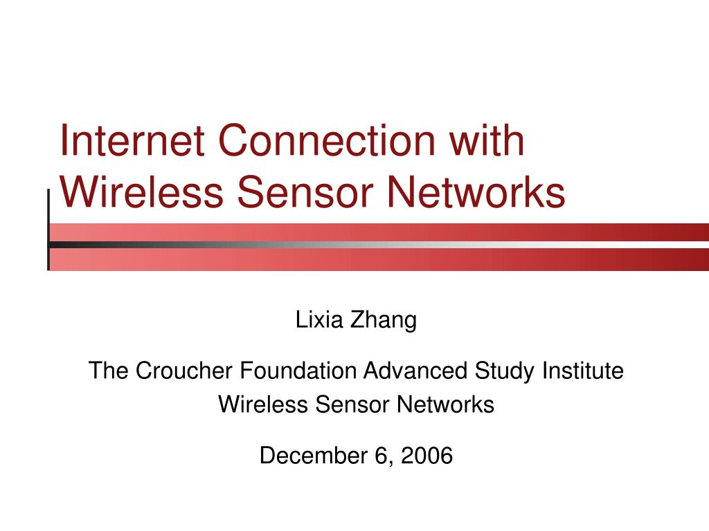 internet connection with wireless sensor networks l.