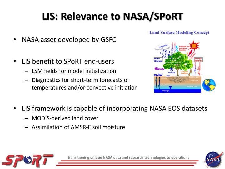 Lis relevance to nasa sport