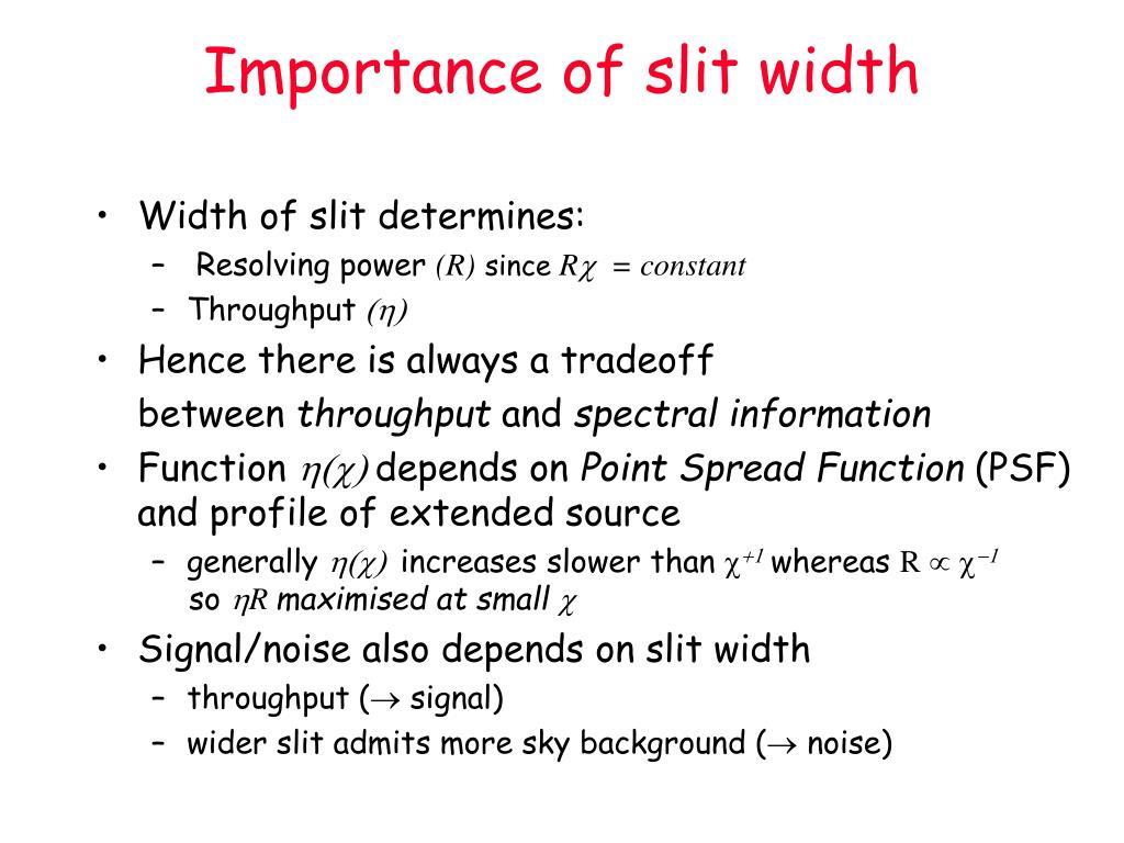 Importance of slit width