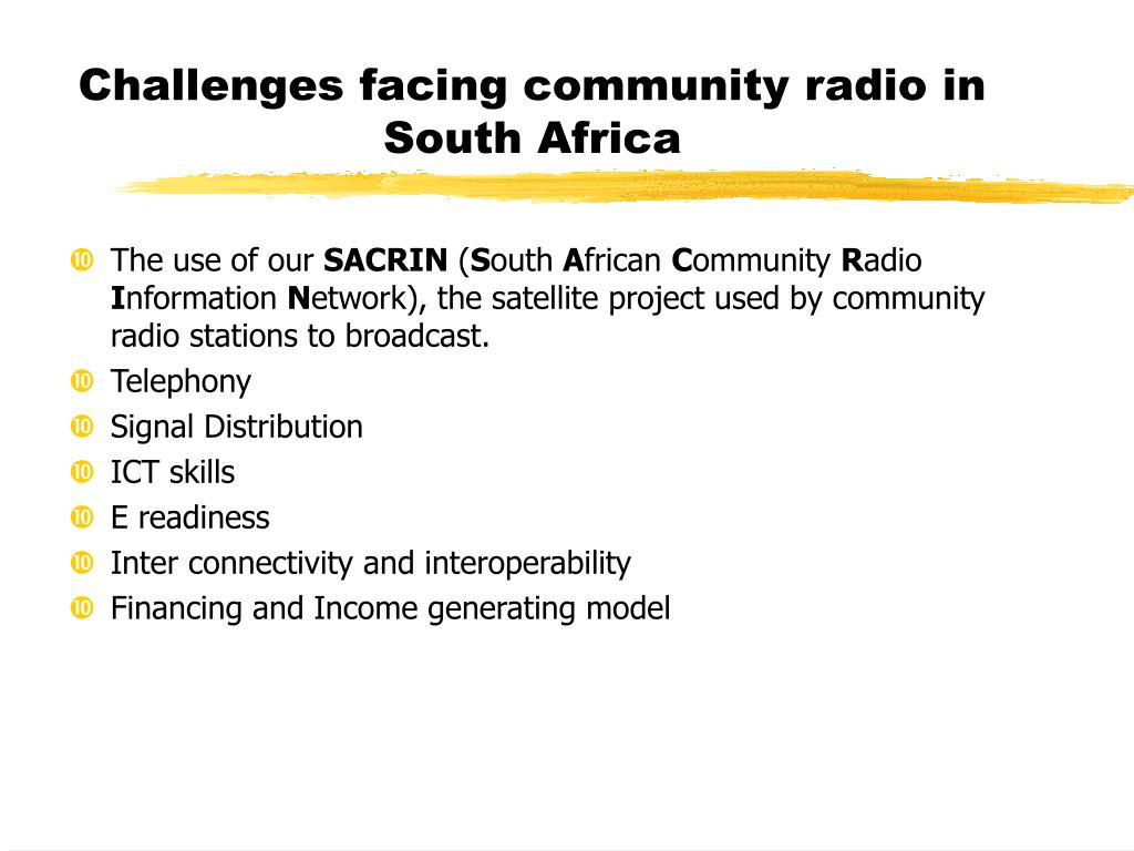 Challenges facing community radio in South Africa