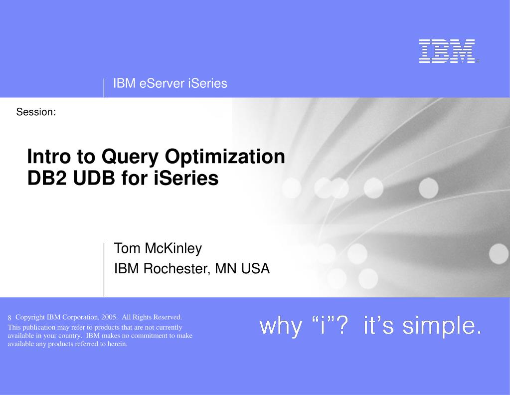 intro to query optimization db2 udb for iseries