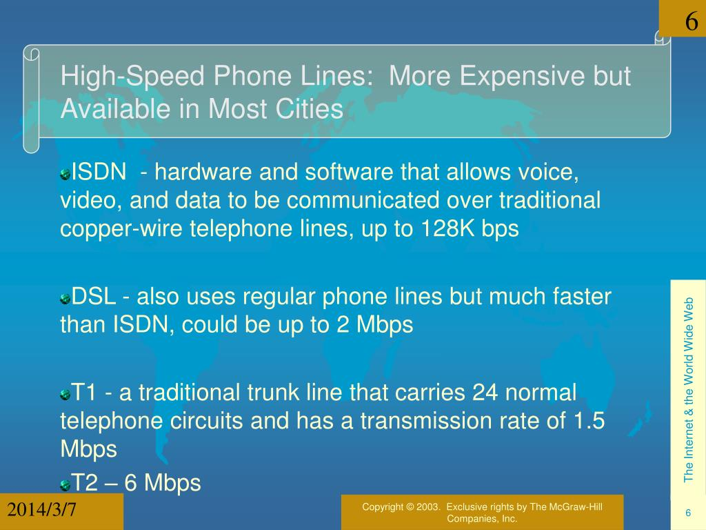 High-Speed Phone Lines:  More Expensive but Available in Most Cities