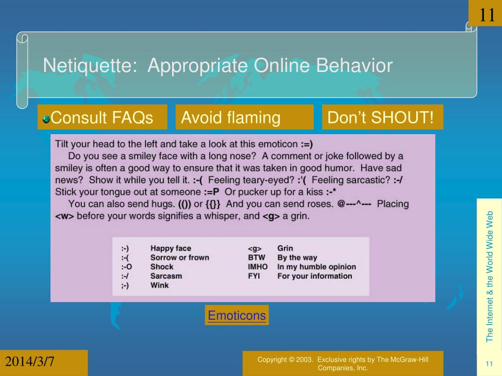 Netiquette:  Appropriate Online Behavior