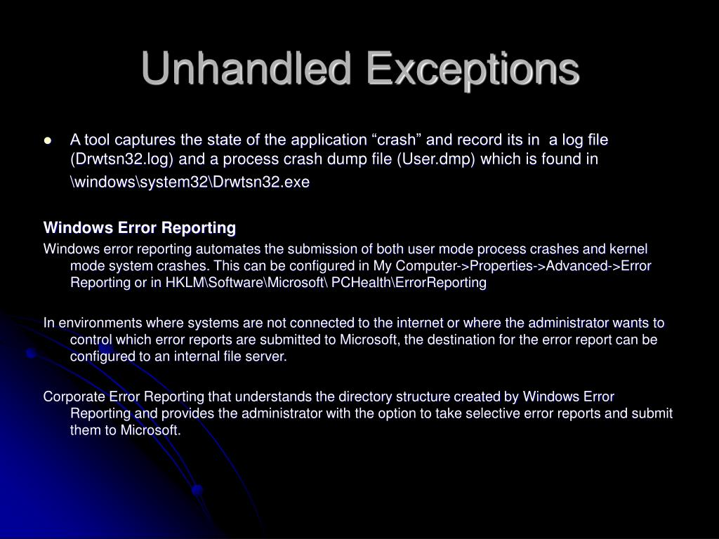 Unhandled Exceptions
