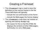 creating a frameset9