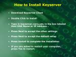 how to install keyserver
