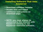 installing software that uses keyserver
