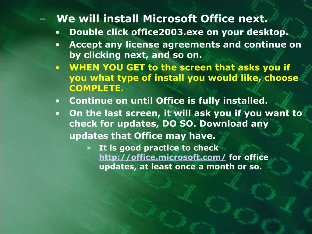 We will install Microsoft Office next.