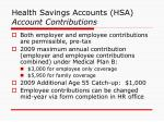 health savings accounts hsa account contributions