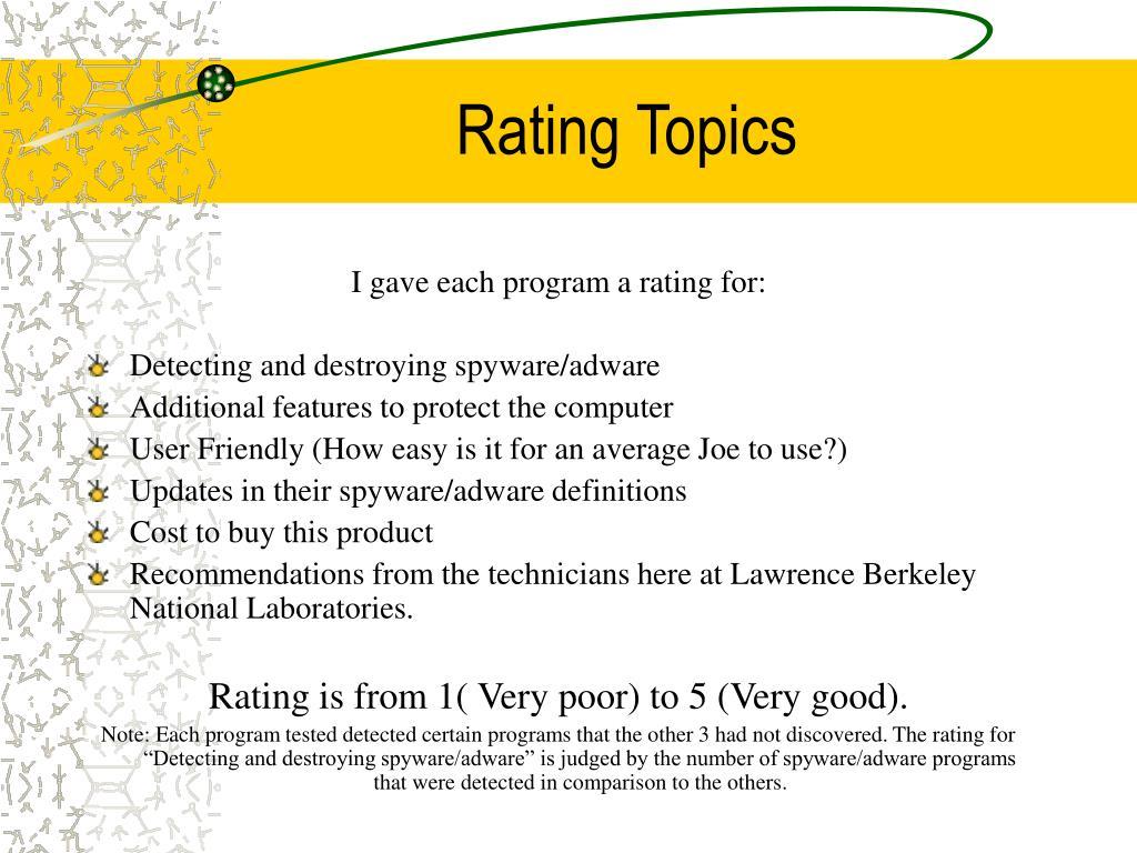 Rating Topics