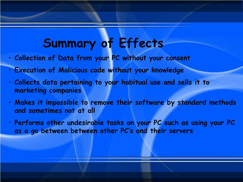 Summary of Effects
