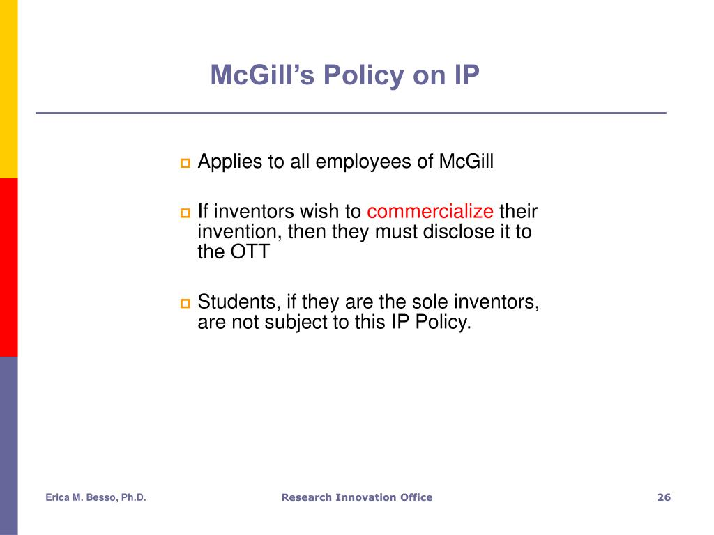 McGill's Policy on IP